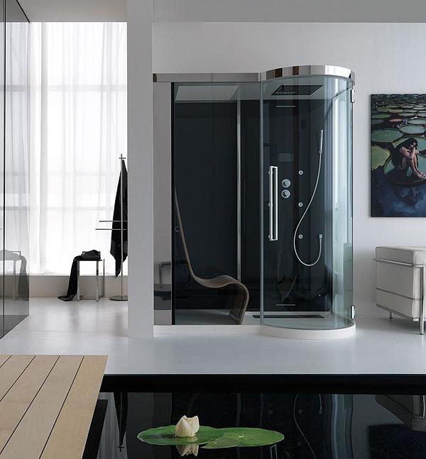 Kuma il benessere a casa tua arredobagno news - Box doccia con sauna e bagno turco ...