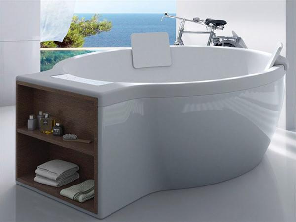 Circular vasca da bagno free standing con vano portaoggetti arredobagno news - Vasca da bagno rotonda ...