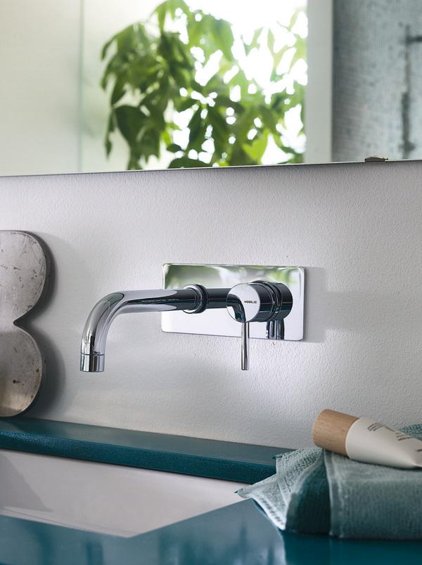 Live – Miscelatore lavabo incasso bocca curva con piastra