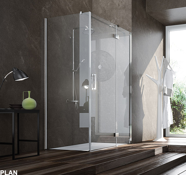 Plan e york eleganza e linearit nei nuovi box doccia in for Doccia passante
