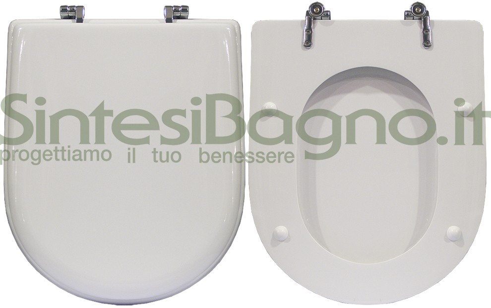 Toilet seat>DEDICATED> For POZZI GINORI toilet bowl>YDRA model> Colour WHITE>Toilet seat made of wood coated with polyester resin> Chrome plated brass hinges
