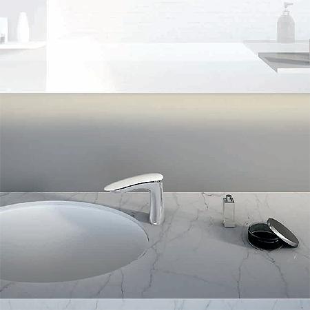 Miscelatore lavabo al piano, misura L, maniglia in Corian®