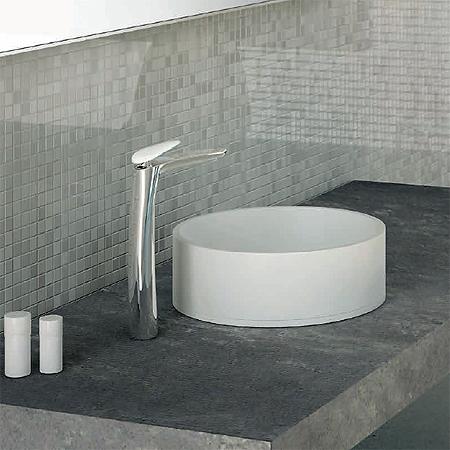Miscelatore lavabo al piano per catino, misura XXL, maniglia in Corian®