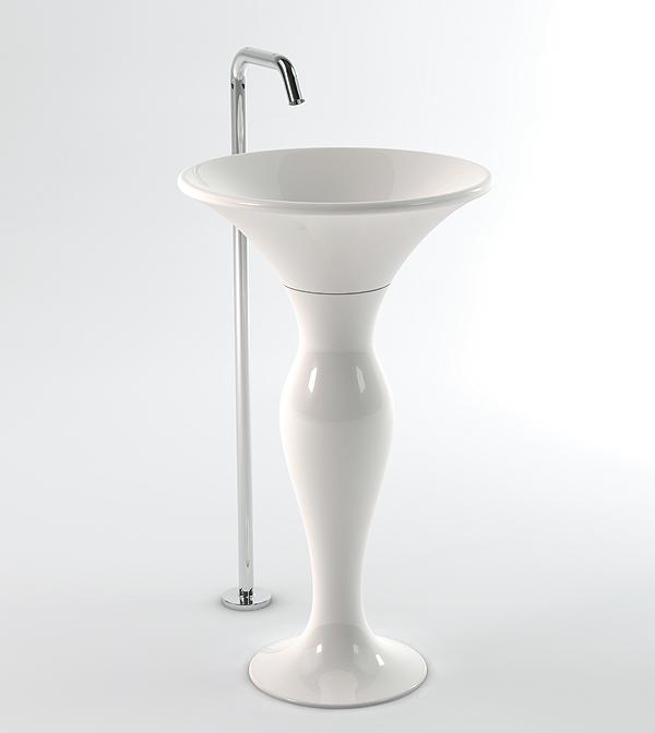 lavabo centro stanza con colonna cm 50