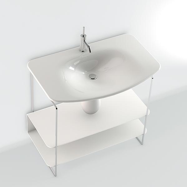 lavabo rettangolare 90x50 con semicolonna