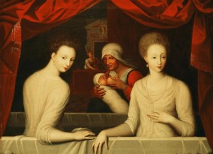 Gabrielle d'Estrees (1573-99) and her sister, the Duchess of Villars (oil on canvas) by Fontainebleau School