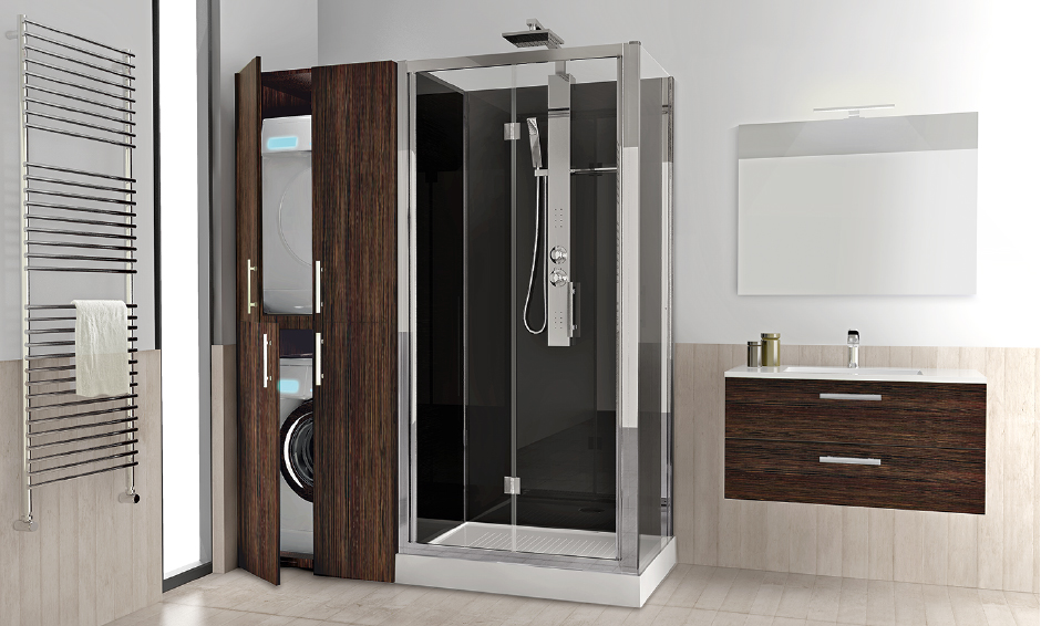 Soluzione 2: Doccia + mobile con alloggiamento con lavatrice e asciugatrice