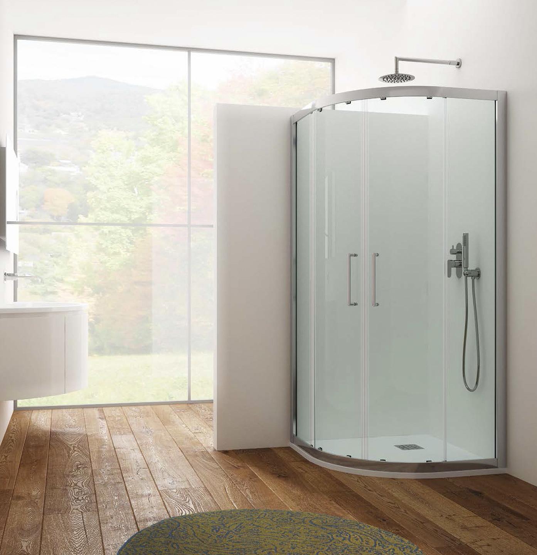 Box doccia angolare circolare in cristallo temperato trasparente 6 mm HERA