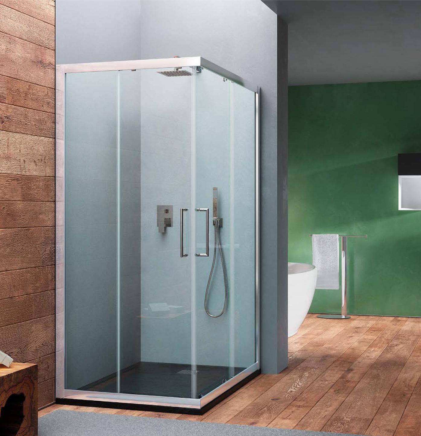Box doccia angolare rettangolare in cristallo temperato trasparente 6 mm HERA