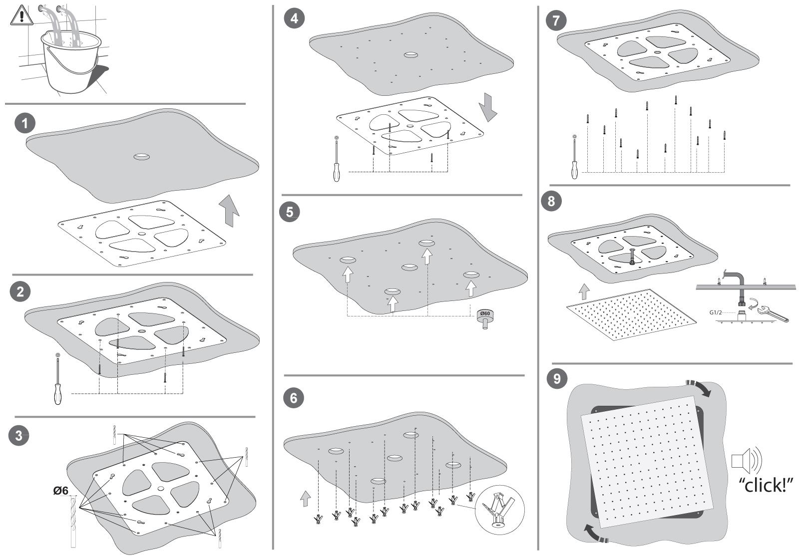 Soffioni Doccia da controsoffitto con montaggio facilitato serie CORTINA