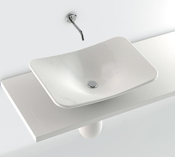 lavabo rettangolare 65x45 appoggio con semicolonna