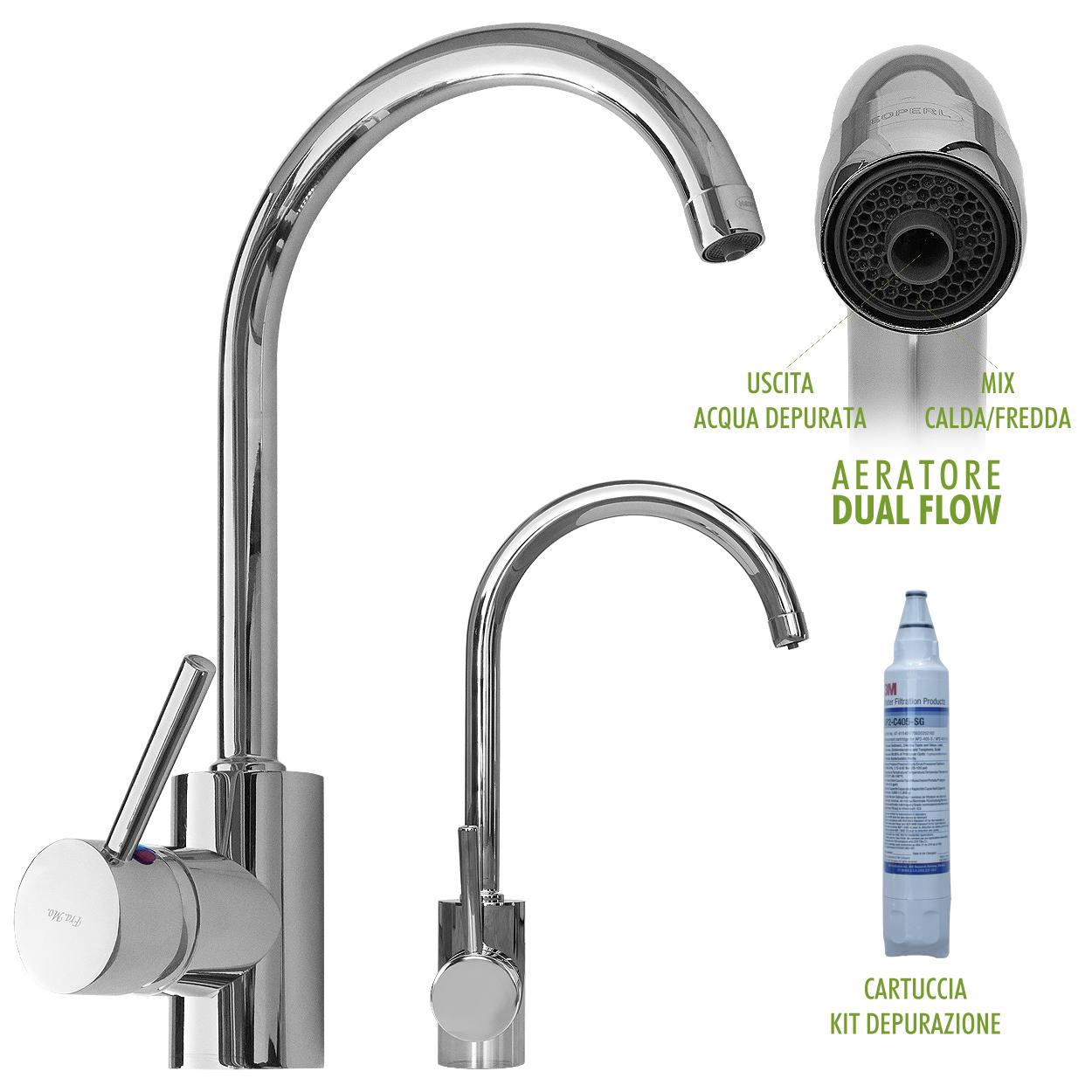 Miscelatore cucina lavello con kit per la depurazione dell'acqua